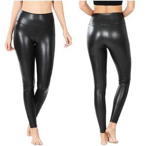 High Waist Black Leather Leggings
